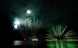 Celebration fireworks. In Brno, Czech republic royalty free stock photo
