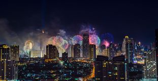 Celebration fireworks in the city at night time. Bangkok City. Thailand. Celebration fireworks in the city at night time. landscape of Bangkok City. Thailand royalty free stock photo