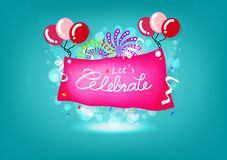 Celebration, fireworks explosion, creative banner poster design, Ribbons, balloons and confetii abstract background vector stock illustration