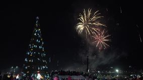 Celebration fireworks of Happy New Year. Crowd of people watching fireworks. Celebration fireworks in honor of Happy New Year 2019. Crowd of people watching and stock footage