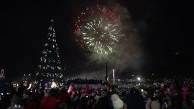 Celebration fireworks of Happy New Year. Crowd of people watching fireworks stock video footage