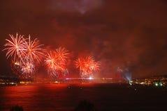 Celebration with fireworks. Istanbul - Turkey Stock Image