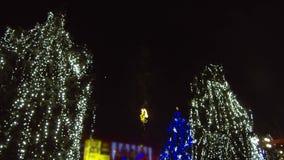 Fireworks light up sky over city. Holidays, celebrating New Year. stock footage