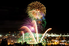 Celebration and Fireworks over a great city. Celebration of Mexican Independence day in the city of Tecate, Baja California, Mexico on September 15th Royalty Free Stock Photography