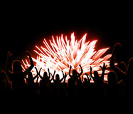 Celebration with Fireworks Silhouette Illustration Stock Photos