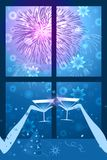 Celebration with fireworks and snowflakes - blue royalty free stock image