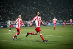 Celebration the first goal of Olympiakos Royalty Free Stock Image