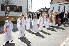 The celebration of the first holy communion Stock Image