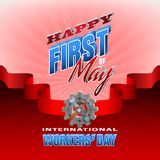 Celebration of First May, International Workers` day. Holidays, design background with 3d texts, hammer and wrench on gear for celebration of First May Royalty Free Stock Photo