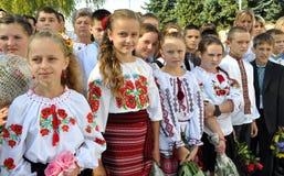 Celebration of the first school bell. KOLYNDYANY - Chortkiv - Ukraine - September 1, 2014. Day of Knowledge. Celebration of the first school bell in the Royalty Free Stock Photos