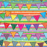 Celebration Flag Seamless Pattern_eps. Illustration of celebration flags seamless pattern on stripes and starry background Royalty Free Stock Photography