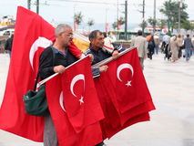 Celebration flags. Turkish street vendors on a national holiday. October 29, 2008 in Istanbul Stock Image