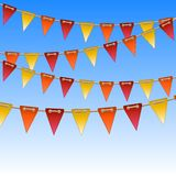 Celebration flags on rope Royalty Free Stock Photos