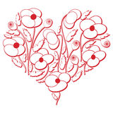 Celebration folk floral embroidery cutout  pattern in heart shape  3d version in white and red with shadow effect inspired by East Royalty Free Stock Images