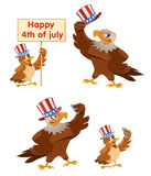Celebration of the fourth of July. An American eagle. And a sparrow in the patriotic hats making selfie Cartoon styled vector illustration. Elements is grouped stock illustration