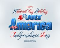 Celebration of Fourth July, American Independence day. Holiday design, background with handwriting and 3d texts and national flag colors for Fourth of July royalty free illustration