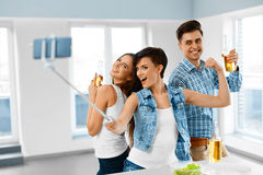 Celebration. Friends Having Fun, Taking Selfie, Celebrating. Fri Stock Image