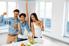 Celebration. Friends Having Fun, Taking Selfie, Celebrating. Fri Stock Photography
