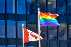 Celebration of Gay and LGBTQ rights on display in Toronto downtown,. Canada royalty free stock photos