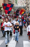 Celebration for Genoa football team. Celebrations in Genoa for the qualification of Genoa CFC in Europa League royalty free stock photo