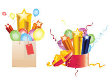 Celebration Gifts. Bright festive balloons, 3d stars coming out of opened gift box and shopping bag Royalty Free Stock Images