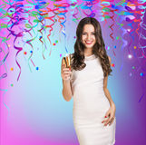 Celebration Girl. Smilling celebration girl with champagne Royalty Free Stock Photography