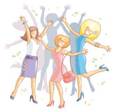 Celebration girls. Vector illustration with group of young cheerful dinky girls Stock Image