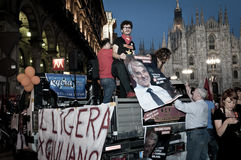 Celebration giuliano pisapia election may, 30 2011 Royalty Free Stock Image