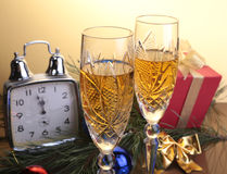 Celebration. the glasses of champagne,wine and gift box. Celebration. the glasses of champagne,wine and gift box Royalty Free Stock Image