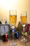 Celebration. the glasses of champagne,wine and gift box. Celebration. the glasses of champagne,wine and gift box Royalty Free Stock Photos