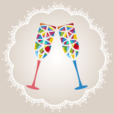Celebration glasses - stained glass. Funky celebration glasses - stained glass  in lacy frame - room for your input Stock Images