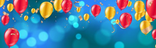 Celebration. glossy golden and red balloons with Dark blue holiday background with colorful shining bokeh and serpentine stock illustration