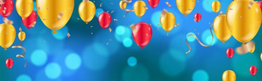 Celebration. glossy golden and red balloons with Dark blue holiday background with colorful shining bokeh and serpentine vector illustration