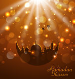 Celebration glowing card for Ramadan Kareem Stock Photos
