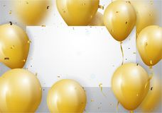 Celebration with Gold Balloon and confetti stock illustration