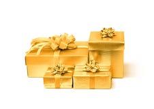 Celebration golden gift box isolated on white background Stock Image