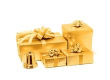 Celebration golden gift box isolated on white background Stock Images