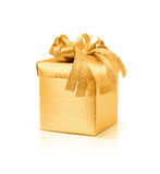 Celebration golden gift box on white background Stock Photography