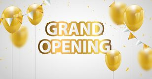 Celebration grand opening banner with Gold balloons background. Sale Vector. Illustration Royalty Free Stock Photos
