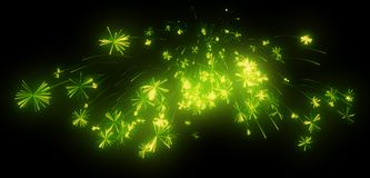 Celebration: green festive fireworks at night. Over black Royalty Free Stock Image