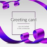 Celebration greeting card, luxury poster, shiny ribbons isolated vector purple tapes, frame for text. Grand opening royalty free stock images