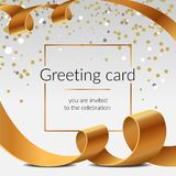 Celebration greeting card shiny ribbons isolated vector golden tapes with confetti. Christmas poster royalty free stock photo