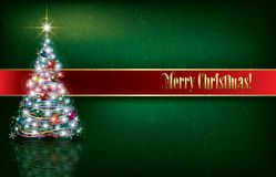 Greeting with Christmas tree on grunge background. Celebration greeting with Christmas tree on green grunge background Royalty Free Stock Photos