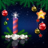 Celebration greeting with Christmas tree and snowflakes Stock Photography