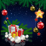 Celebration greeting with Christmas tree and snowflakes Royalty Free Stock Photos
