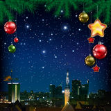 Celebration greeting with Christmas tree and snowflakes Royalty Free Stock Images