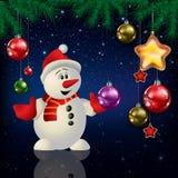 Celebration greeting with Christmas tree and snowflakes Stock Photos