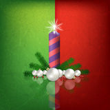 Celebration greeting with Christmas tree and snowflakes Stock Images