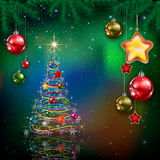Celebration greeting with Christmas tree and snowflakes Royalty Free Stock Image