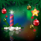 Celebration greeting with Christmas tree and snowflakes Royalty Free Stock Photography